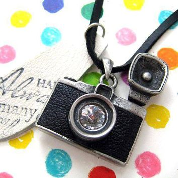 Camera Lens Pendant with Flash Necklace in Black on Silver