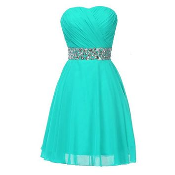 Fashion Plaza Chiffon Bridesmaid Dresses Short Strapless D0123