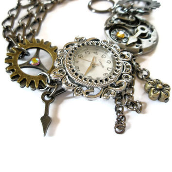 Steampunk Watch jewelry  Bracelet cogs hands and charms made to order