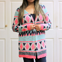 Aztec Bright Knit Cardigan in Multi Color