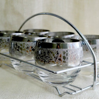 Mid century Dorothy Thorpe style roly poly  glasses- set of 6 with caddy // Silver rim with Grape design