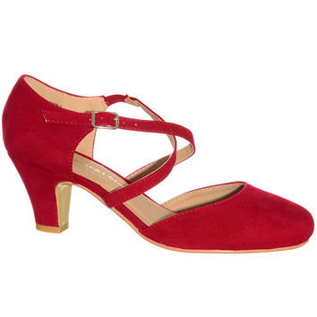 Dolly Girl Crossed Pump in Red