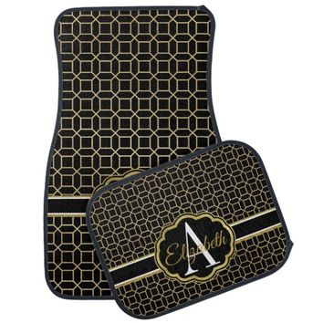 Black and Faux Gold Art Nouveau Octagon Monogram Car Floor Mat