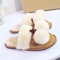 UGG Women Leather Pompom Cashmere Winter Slipper Shoes