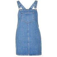 TopShop Petite Square Neck Denim Pinafore