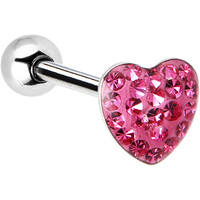 Dome Pink Heart Gem Barbell Tongue Ring | Body Candy Body Jewelry