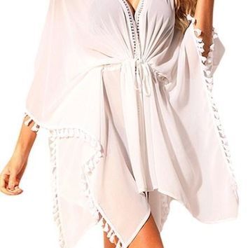 White Tassel Trim Sheer Kaftan Beach Cover Up