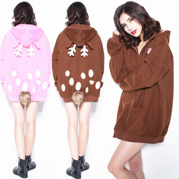 Christmas Cute Deer Hooded Coat