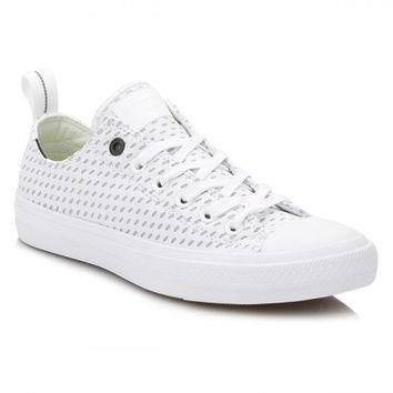Converse All Star Chuck Taylor II Mens White/Ash Grey Shield Trainers