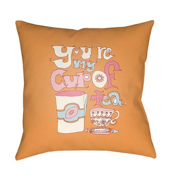 Doodle Pillow Cover - Bright Pink, Pale Pink, Aqua, Butter, Saffron - DO020