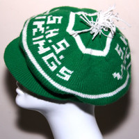 Vintage SHS Vikings High School Varsity Football Knit Beanie Cap Flap Brim Unisex Green White Pom Pom