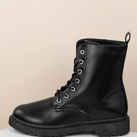 Lace Front Lug Sole Combat Style Boots