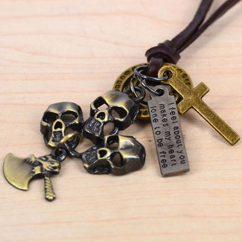 Skulls and Axe Charm Genuine Leather Necklace (Size: 70, Color: Bronze) = 1932805828