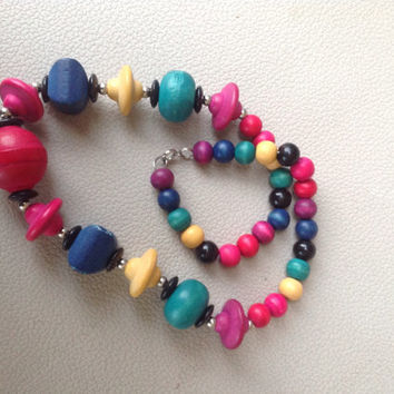 Beautiful Necklace with Multicolored Carved Wood Beads