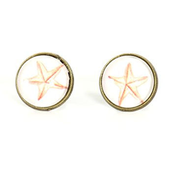 Starfish Clip On Stud Earrings Vintage Beach Art Sea Fish EG03 Gold Tone Posts Fashion Jewelry