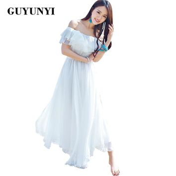 GUYUNYI Boho style long dress women Off shoulder beach summer dresses strapless chiffon white maxi dress vestidos de festa CX585