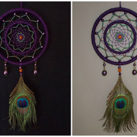 5 inch Purple and Green Dream Catcher with Peacock Feather - Beaded Double Ring Dreamcatcher Mobile - Boho Hippie Wall Hanging Home Decor