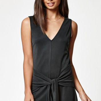 Kendall & Kylie Cupro Ribbed Tie Front Romper at PacSun.com