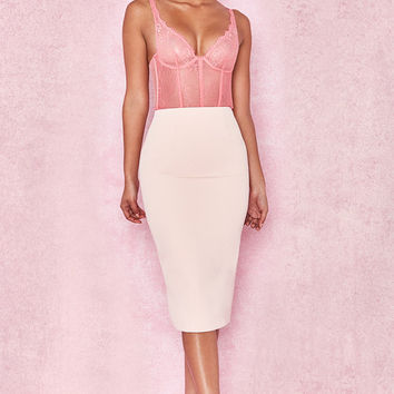 Clothing : Skirts : 'Tamla' Pale Pink Crepe Pencil Skirt