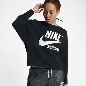 NIKE Women Loose Scoop Neck Top Sweater Pullover