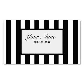 New Classy Black & White Stripe Business Card