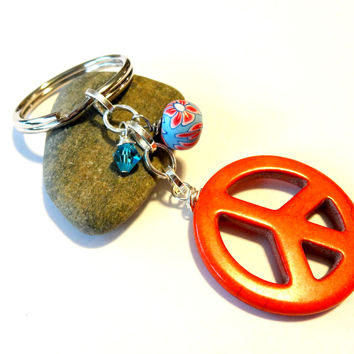Cool Colorful Peace Sign Keychain, Hippy Car Accessory