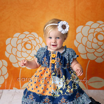 Girl's September Blue Peasant Dress-From the Fall 2014 Collection by Mellon Monkeys