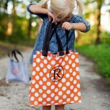 Orange Polka Dot Halloween Tote (monogram not included but can be added)