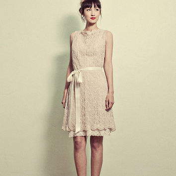 Vintage Inspired Lace Shift Dress With Slip included by ktjean