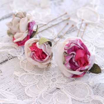 Sweet bridal flower hair pins (3 pcs), Wedding Hair Accessory, Set of Three Wedding accessories, Bridal hair flowers in white fuschia green