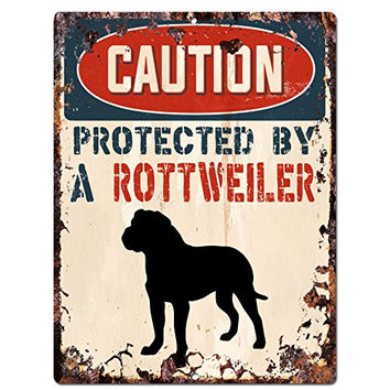 "CAUTION PROTECTED BY A ROTTWEILER Chic Sign Vintage Retro Rustic 9""x12"" Metal Plate Home Room Door Wall Decoration"