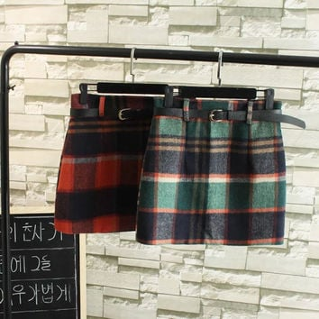Winter Women's Fashion Waistband Plaid Skirt [6513586951]