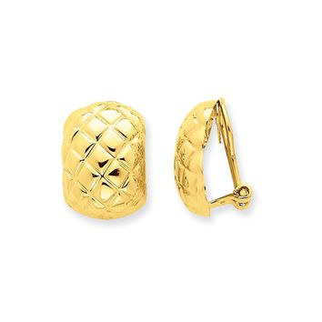 14K Yellow Gold Polished Quilted Non-pierced Omega Back Earrings