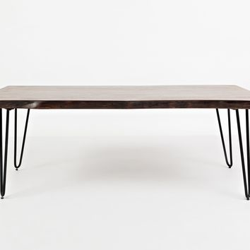 Wooden Cocktail Table With Metal Hairpin Legs, Brown And Black