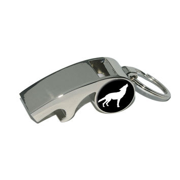 Wolf Howling Whistle Bottle Opener Keychain