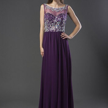 E3012 Jeweled Chiffon Prom Dress Evening Gown
