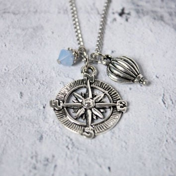Antique Silver Compass Wanderlust Necklace with Air Blue Opal Swarovski Elements - Charm Necklace - Hot Air Balloon - Compass Pendant
