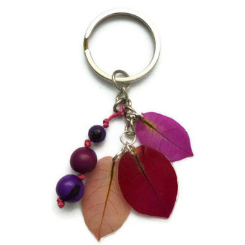 Purple Keychain, Pressed Bougainvilleas Accessories, Seeds keychain, Floral keychain, Purple Accessories, Eco-friendly, Gift for her