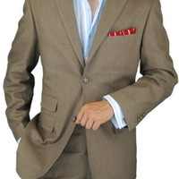 Bianco B Men's Taupe Two Button Ticket Pocket Linen Suit