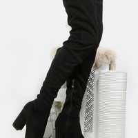 Faux Suede Chunky Heel Thigh High Boots BLACK | MakeMeChic.COM