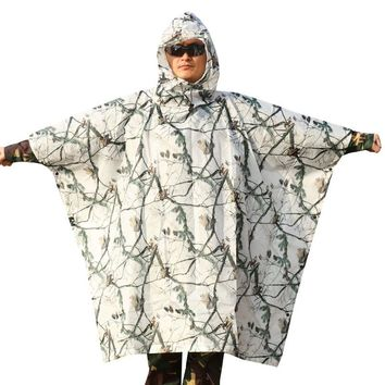 3D white snow pine tree style camouflage poncho style Ghillie suit airsoft hunting clothes Open can become picnic mat