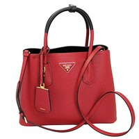 Prada Women's Red & Black Saffiano Leather Tote Bag W/strap 1bg887