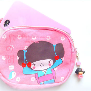 Kawaii bag Geisha pink coin purse with cute zipper charm, zipper pouch, Japanese doll wallet pouch, Kawaii pouch phone case, canvas bag