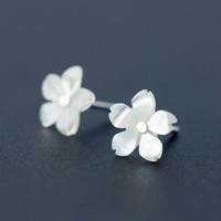 Personalized shell cherry blossom 925 sterling silver earrings,a perfect gift