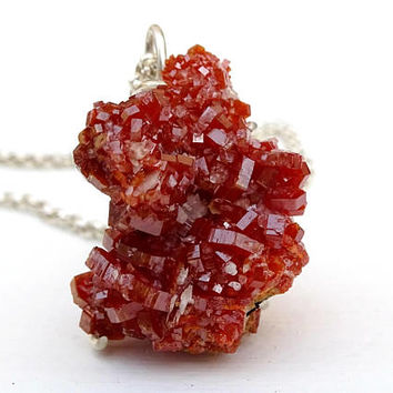 natural crystal cluster pendant, vanadinite druzy pendant, vanadinite crystal necklace, real crystal druzy necklace, raw crystal pendant