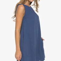 June Scallop Shift Dress - Blue