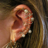 Pearl Beaded Silver Wire Ear Cuff by TheHempChick on Etsy