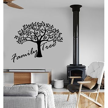 Vinyl Wall Decal Family Tree Logo Leaves Interior Design Stickers (3557ig)