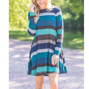 Womens Loose Winter Spring Cashmere Striped Long Sleeve Dress +Gift Necklace