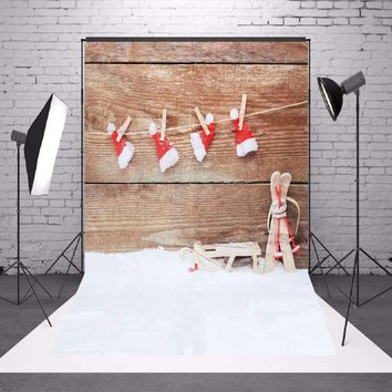 5x7FT Christmas Snow Hat Style Studio Backdrop Photography Prop Photo 2017 New Arrival Bright Color Rich Patterns